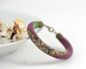 Lavender garden - Beaded Bracelet  Bead Crochet Bracelet Lilac Purple Pink Green Pastel Multi-Colored Colorful Minimalist Beadwork Jewelry