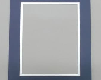18x24 navy blue silver double picture mat with white core bevel cut for a 12x18 photo or print