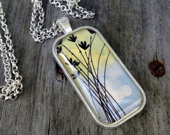 Wild Flower pendant, Wild flower jewelry, Flowers, Domino pendant, Domino jewelry, Glass Tile Pendant, Flower necklace, Wild floral pendant