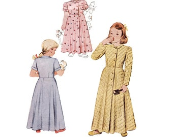 1940s Childrens Pattern McCall 6975, Little Girl's Robe, Long or Short Sleeves, Button Front, 1947 Vintage Sewing Pattern Size 4 Br 23
