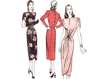 Rare 1940s Dress Pattern, Butterick 4234, Day Or Evening Dress with Tulip Skirt & Draped Waist, Vintage Sewing Pattern Bust 30 Uncut FF