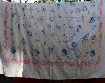 Vintage floral/fruit table cloth in blues and pinks
