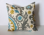 ONE - 18 x 18 Citrine and Blue Suzani Pillow Cover - Premier Prints