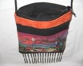 African Sunset Masai Children  / Sling/Cross Body / Shoulder  Bag / Purse w/ left side zipper