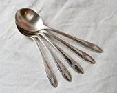 Five 1946 Tudor Plate soup or gumbo spoons...Queen Bess spoons.