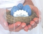 Wedding Photo Prop Decoration, Nest Table Number, Periwinkle Rustic Woodland Bride Groom