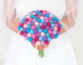 Bridal Bouquet Wedding, Felted Wool Flowers, Jewel Tone, Flower Girl, Bridesmaid Bouquet