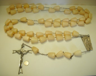 "Vintage Gigantic Lucite Rosary, Unsigned, Italy, 92"" Long + 21"" Medal To End Of Cross"