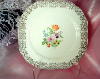 Vintage Wedding Luncheon Plates Square Century by Salem China Square Salad Plates Set of 4 Shabby Cottage Chic Vintage Bridal Shower