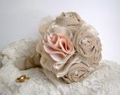 Rustic Bridal Bouquet, Fabric Flower, Alternative Bouquet, Flowers for Bride, Peach Wedding,
