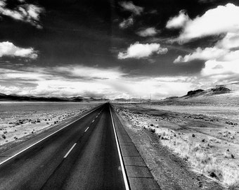 Open Road Photograph, Black and White, Road Trip, Travel Photography