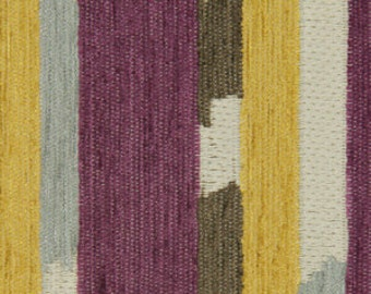Grey Purple Upholstery Fabric for Furniture - Yellow Grey Stripe Home Decor Fabric - Custom Purple Yellow Stripe Pillow - Grey Yellow Decor