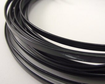 Flat Black Anodized Aluminum Wire, Flat Wire, 4 x 1.2 mm, 20 foot coil