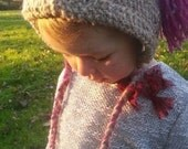 Handmade tasselled BABY HAT/ BONNET 100%  oatmeal /pink wool 6 to 18 months