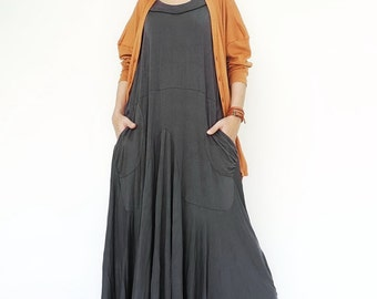 NO.129 Grey Rayon Spandex Softly Softly Maxi Dress, Day Dress