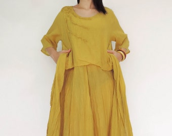 NO.145 Yellow Cotton Floral Appliqué Tunic Dress, Day Dress