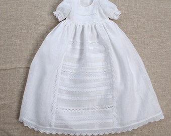 Baby girl baptism linen dress heirloom gown special occasion blessing vintage christening baby white coming home natural clothes handmade