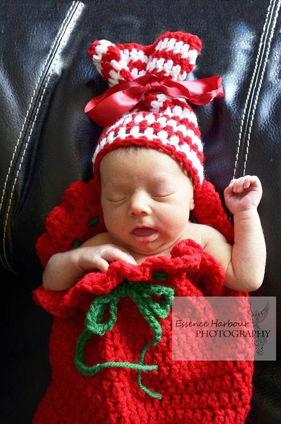 Santa Sack Cocoon & present hat by AmandasHKreations on Etsy