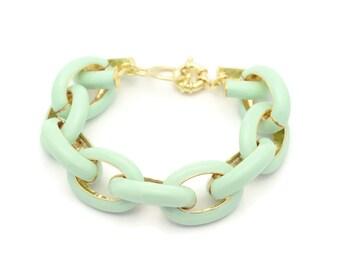 Pave Enamel  Bracelet - Mint Color - Crew Inspired