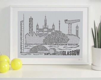 Glasgow Skyline Typography Print