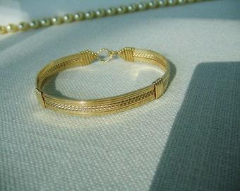 14K GOLD-FILLED Handmade Wire Wrapped 8-Strand Bangle Bracelet