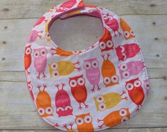 Sale Pink Owls Baby Bib