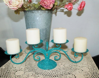 Upcycled Vintage Metal Candelabra - Candle Holder, Hand Painted In Teal Blue, Beautifully Distressed