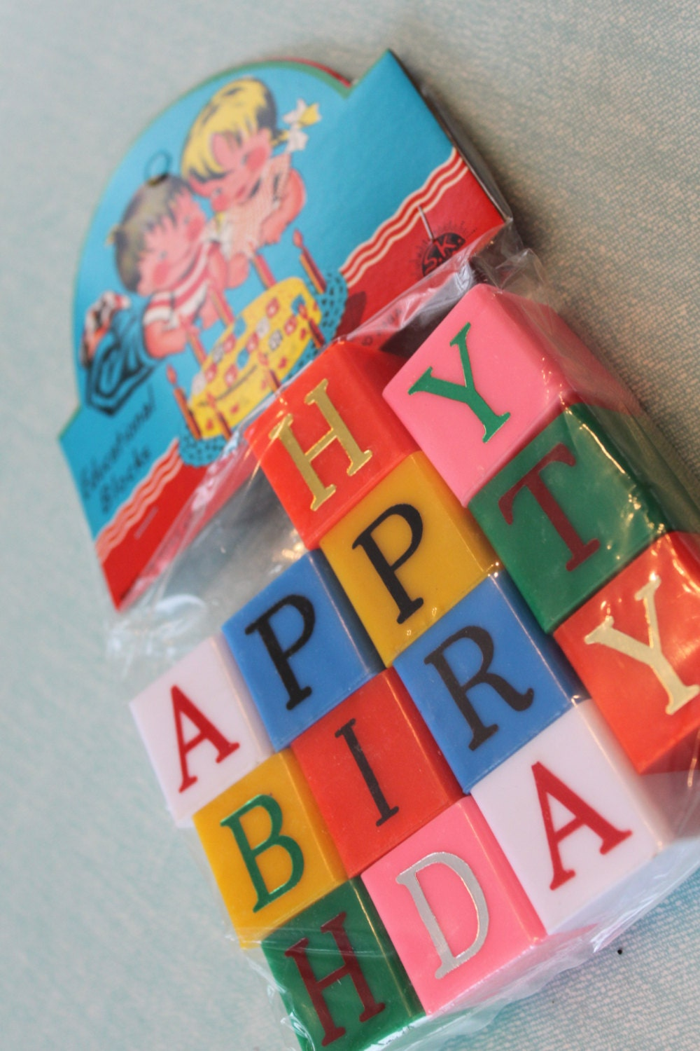Nos nip 1960s vintage happy birthday blocks educational for Alphabet blocks cake decoration