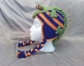 Sports team Character Crochet Ear flap Alligator Hat with our without braid