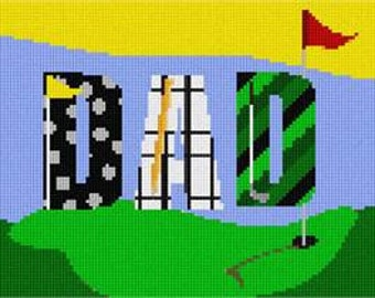 Needlepoint Canvas Dad and Golf by Pepita