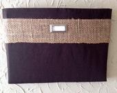 Chocolate brown with burlap ribbon -  Fabric Wall Pocket with one pocket / mail organizer, magazine holder, file folder organizer