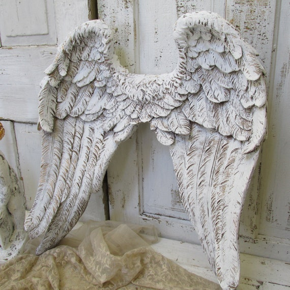 Large Angel Wings Wall Sculpture Hand Painted White And