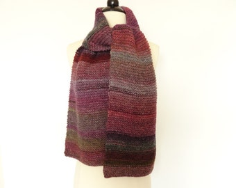 Knit Warm Winter Scarf Shades of Violet Green