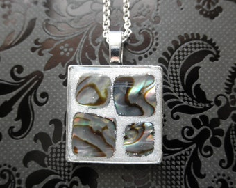 Paua Abalone Shell Mosaic Resin Pendant on Silver Plated Chain
