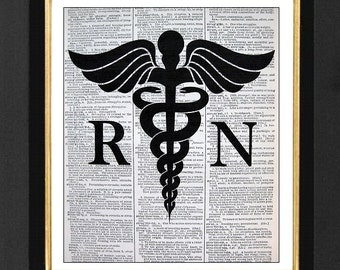 RN Print- Registerd Nurse Art -ORIGINAL ARTWORK-  Mixed Media art print on 8x10 Vintage Dictionary page, Dictionary art, Dictionary print