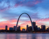 St. Louis Skyline Photography - Saint Louis Print - St. Louis Sunset, Gateway Arch, St. Louis Arch, Downtown Skyline, Fine Art Photo