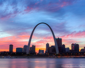 St. Louis Skyline Photography - Saint Louis Print - St. Louis Sunset, Gateway Arch, St. Louis Arch, Downtown Skyline, Fine Art Photo