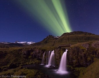 Northern Lights Photograph - Iceland Waterfall - Aurora Borealis Print, Kirkjufellsfoss, Astrophotography, Night Sky Photo, Green