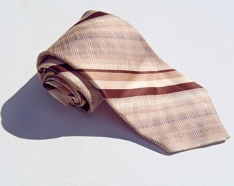 Vintage 1980s Tan and Brown Checked Tie by Paco Rabanne