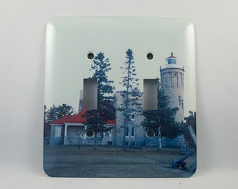 SALE Light Switch Cover, Old Mackinac Point Michigan Lighthouse Design, Home Décor, Photograph, Nautical, Historical