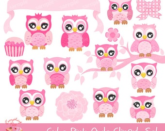 Cute Pink Owls Clipart Set