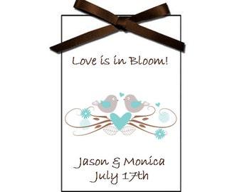 New Vintage Love Birds Bridal shower seed packet favors - wedding favor, bridal shower favors, - set of 12