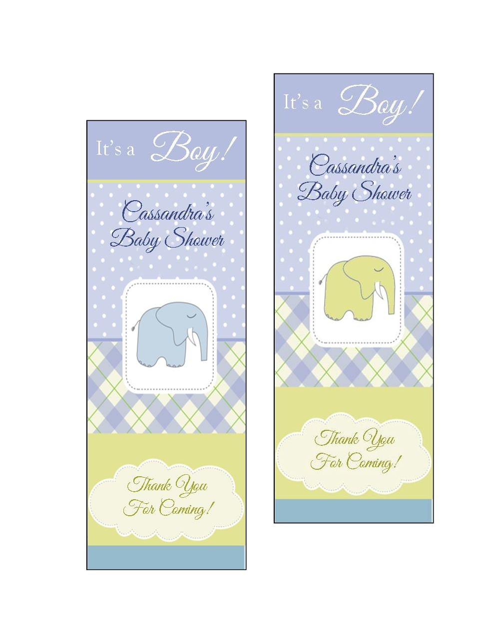 Baby Shower Favors Bookmarks ~ Personalized baby boy shower favor bookmarks set of
