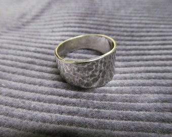 Wide Hammered Sterling Silver Band Ring ? Thumb Ring