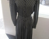 Women's Vintage Black & White Polka Dot Silk Maxi Dress Size 8 Maggy London for Brooks Brothers RESERVED