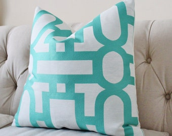 Designer Aqua Pillow Cover - Teal White Geometric Geometric - Modern Blue Pillow - Turquoise Aqua Blue Pillow