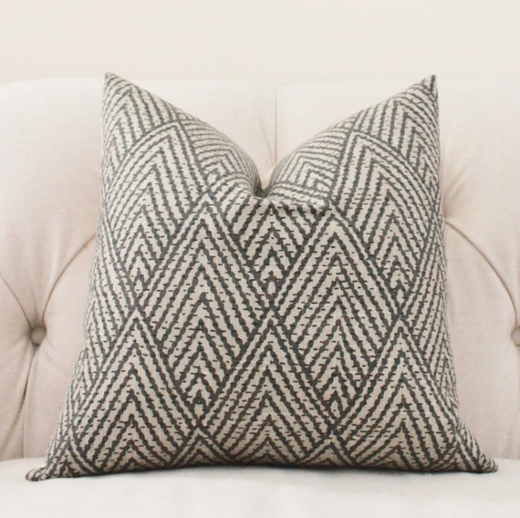Decorative Throw Pillows Etsy : Decorative Designer Pillow Black Gray Beige by MotifPillows