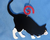 Metal Black and White Cat Ornament
