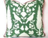 Aloe Green Chenonceau Schumacher Pillow Cover with Piping