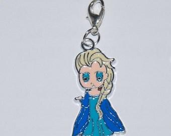 Disney Frozen Princess Elsa Enamel Clip Charm, zipper pull, backpack, cell phone, purse clip, bracelet, necklace or scrapbooking.